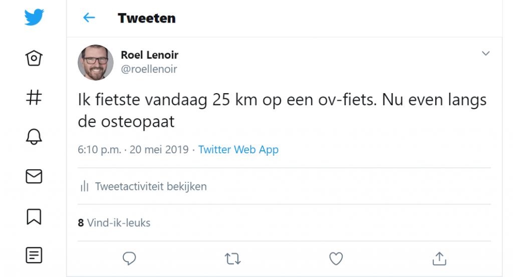 Tweet van @roellenoir over zijn langste rit met ov-fiets in 2019